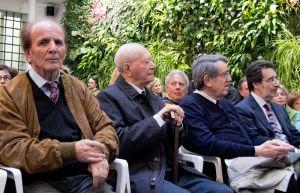 Tre protagonisti di Io ho visto. Armando Tincani, Antonino Ferlito ed Emilio Martini. A destra, con la barba, il critico teatrale Maurizio Giammusso